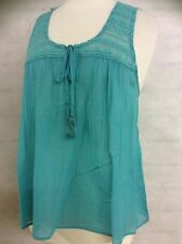 PURE COTTON MESH LACE SLEEVELESS VEST TOP MINT GREEN SIZE'S 20 18 16 14 12 10 8