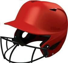 Wilson A5427 Superfit NOCSAE softball batting helmet with mask Scarlet Red
