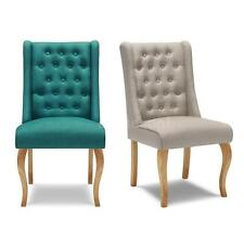 Upholstered Accent Dining Side Chair Tufted Linen Fabric Wood Legs IKAYAA Q9X2