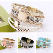 Hot Lots Rows Leather Wrap Wristband Cuff Punk Crystal Magnetic Bracelet Bangle