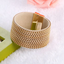 New 10 Rows Leather Wrap Wristband Cuff Punk Crystal Chain Bracelet Bangle
