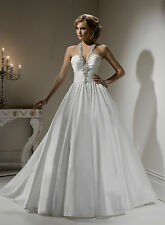 STUNNING LOW BACK BALL GOWN SEXY WEDDING DRESS UK SIZE 24 26 28 30 + PLUS SIZE