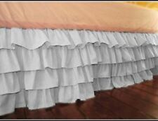 "Stylish 1-QTY Multi Ruffle Bed-Skirt/Valance Drop 21"" To 30"" White Solid"