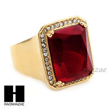 MEN ICED OUT RING 316L STAINLESS STEEL GOLD RED RUBY CZ RING SIZE 8-12 SR015RD