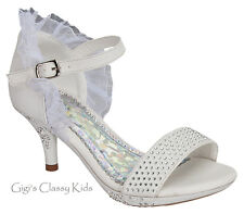 New Girls White Rhinestone Lace Dress Heels Shoes Dance Pageant Youth Kids