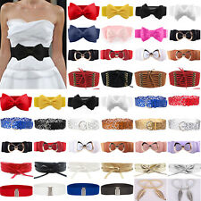 Women Fashion Bowknot Buckle Leather Waistband Wide Elastic Stretch Waist Belt