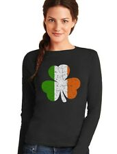 Distressed Irish Flag Clover - Ireland Shamrock Women Long Sleeve T-Shirt Gift