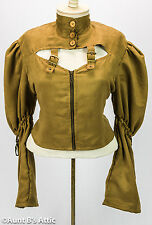 Steampunk Top Ladies Brown Faux Suede Zippered Front Buckled Laced Back Blouse