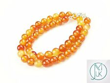 Carnelian Natural Gemstone Necklace 8mm Beaded Silver 16-30inch Healing Chakra