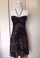 NWT White House Black Market Black Sheer Lined Cocktail Party Evening Dress Sz 4