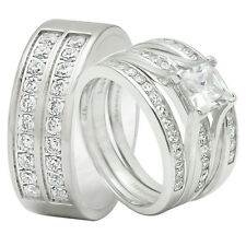 4PCS His And Hers Titanium 925 Sterling Silver Wedding Bridal Matching Ring Set