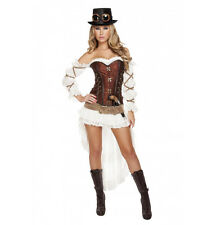 Roma 7pc Steampunk Babe Pirate Deluxe Corset White & Brown Costume 4576