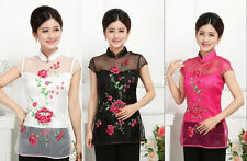 New Chinese Women's Lace Embroidery Tops/ T-shirt Cheongsam Black White Red