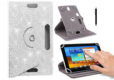 Folio Bling 360 Rotate Leather Case Cover Android Tablets 7/8 9/10 inch & Stylus