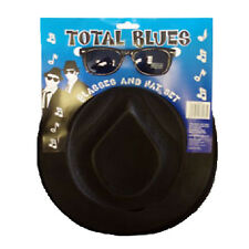 2 Pc Fancy Dress Gangster Musical Movie Total Blues Brothers Hat and Sunglasses