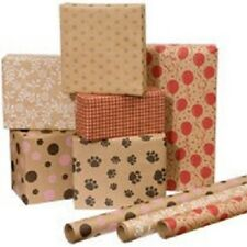 5 Rolls = 125sf Brown/Pink Polka Dots, Zebra Stripe or Paw Print Wrapping Paper
