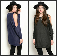 NWOT Women Oversize Cutout shoulder stretchy sexy soft top tunic S M L CUTE!