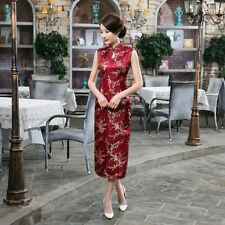 Dark red Women's Sleeveless Silk Evening Dress Long Cheongsam SZ6 8 10 12 14 16