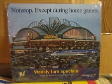 MILWAUKEE BREWERS, MILLER PARK, MIDWEST AIRLINES MOUSEPAD ( BRAND NEW)