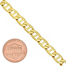 Men's 6mm Wide 14K Yellow Gold-Overlay Polished Flat Mariner Chain