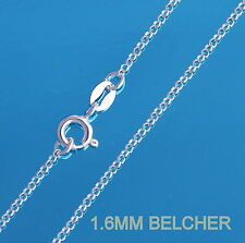 925 Sterling Silver 1.6mm BELCHER ROLO Chain Necklace 16 18 20 22 24 26 28 30""