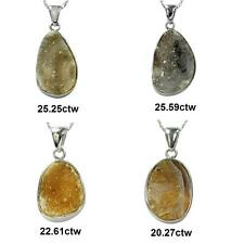 De Buman Sterling Silver Agate Solid Pendant Necklace (18-inch Chain)