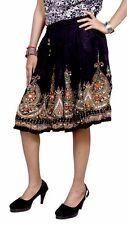 Apprarels India Rayon Embroidered Boho Hippie Gypsy Sequin Work Short Skirt