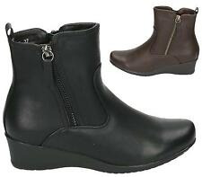 LADIES BLACK FAUX LEATHER ZIP BIKER WEDGE ANKLE BOOTS WOMENS WORK SHOES