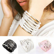 Multilayer Womens Cuff Bangle Gothic Punk Chain Leather Bracelet Jewelry Unisex