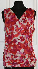 ~ELLE~Woman's Red/White Floral Sleeveless Stretch Top~SIZE S~NWT