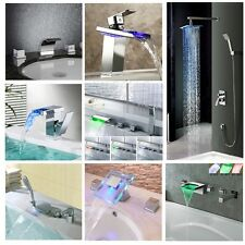 LED Waterfall Bathroom Basin Faucet Bathtub Mixer Tap Chrome Bath Shower Taps