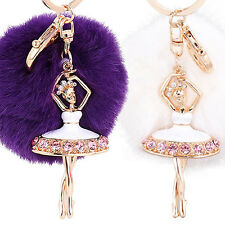 New Style Fur Ball Keychain with Ballet Girl for Handbag Key Ring Car Key Sweet