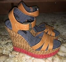 NEW Womens 7.5 CALVIN KLEIN JEANS Breezie Brown Espadrille Wedge Heel Sandals