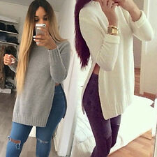 Women Glitzy O-neck Long Sleeve Side Split Long Knitwear Top Pullover Outwear