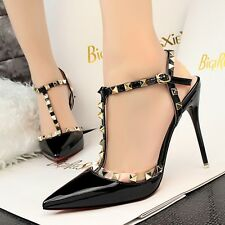 Womens Rivet Sandals Strappy Pumps High Heels Stilettos Pointy Party Solid Shoes