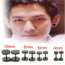 2x Round Barbell Stainless Steel Men's Earring Punk Gothic Ear Studs 4 Sizes Col
