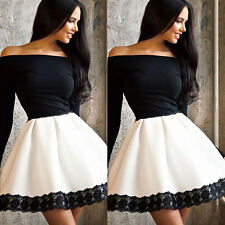 Women's Sexy Off-Shoulder Long Sleeve Lace Party Cocktail Mini Dress Posh