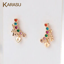 Lovely Lock Key Colorful Crystal Stud Earrings Piercing Jewelry Real Gold Plated