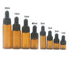 10-50pcs 1-3ml Glass Amber Empty Essential Bottles Oils Dropper Eye Aromatherapy