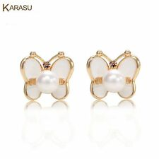 Fashion Drop Oil Real Gold Plated Butterfly Simulated Pearl Stud Earring Jewelry