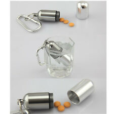 Hot  Container Medicine Waterproof Bottle Holder Aluminum Mini Keychain Pill Box