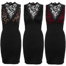 Womens Floral Lace Overlay Contrast Plunge V Neck Sleeveless Bodycon Dress