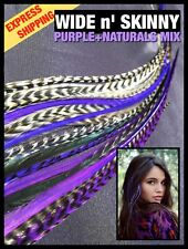 Feather Hair Extension Grizzly Naturals Purple WIDE 20 + 2 Free Beads Tools Kit