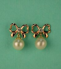 14K Yellow or White Gold Bow Tie Freshwater Pearl CZ Stud Earring