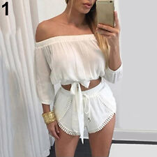 Women Summer Sexy Off Shoulder 2 Pieces Top + Drawstring Shorts Suit Pleased