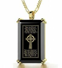 Celtic Cross Necklace Inscribed in 24kt Gold on Onyx Pendant Christian Jewelry