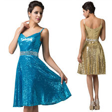 Spaghetti Straps Sexy Sequins Golden/Blue Short Cocktail Club Wear Ball Dress