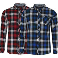 New Mens Tokyo Laundry Check Long Sleeve Button Up Collared Shirt Top Size S-XXL