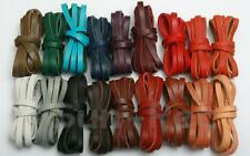 Flat Real Hide Leather Cord Thong Jewelry Crafts DIY 3/4/5mm options 18 colors