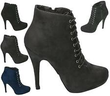 LADIES WOMENS HIGH STILETTO HEEL ZIP BOOTIE LACE UP SHOE ANKLE WORK BOOTS SHOES
